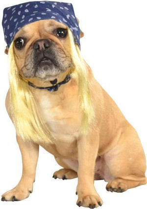 Blue Pet Bandana with Hair Wig - Posh Pet Glamour Boutique