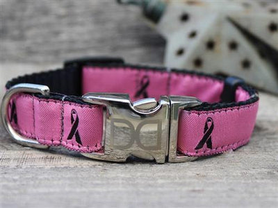 Breast Cancer Awareness Dog Collar Pink with optional leash - Posh Pet Glamour Boutique