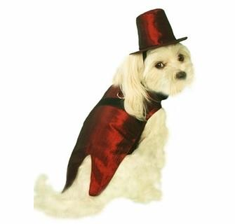 Burgundy Satin Dog Tuxedo - Posh Pet Glamour Boutique