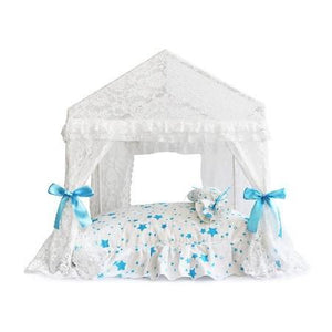 Canopy Bed- Blue Stars - Posh Pet Glamour Boutique