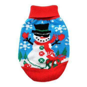 Combed Cotton Ugly Snowman Holiday Sweater - Posh Pet Glamour Boutique