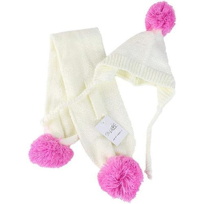 Cream & Pink Pom Pom Hat Set - Posh Pet Glamour Boutique