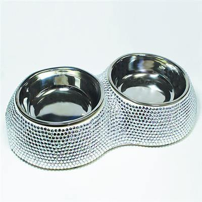 Crystal Dining Bowl- Silver - Posh Pet Glamour Boutique