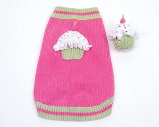 Cupcake Sweater with Squeaky Cupcake Toy - Posh Pet Glamour Boutique