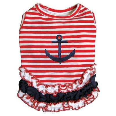 Cute Stripy Sailor Shirt with Ruffles - Posh Pet Glamour Boutique