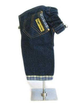 Designer Jeans Blue Yellow Plaid Trim - Posh Pet Glamour Boutique