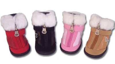 Faux Fur Tipped Hiker Style Boots - Posh Pet Glamour Boutique