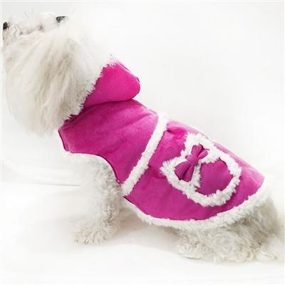 Faux Shearling Hooded Coat with Pocket Detail - Posh Pet Glamour Boutique