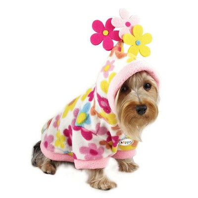 Floral Fleece Hoodie with Flowers - Posh Pet Glamour Boutique