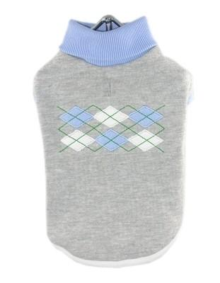 Grey Blue Argyle Turtleneck - Posh Pet Glamour Boutique