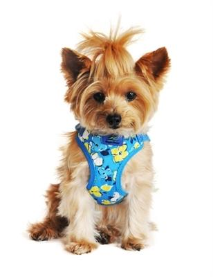 Hawaiian Blue Fabric Wrap and Snap Choke Free Harness - Posh Pet Glamour Boutique