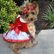 Holiday Harness Dress - Candy Canes - Posh Pet Glamour Boutique