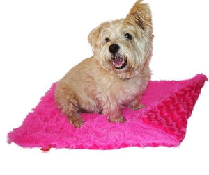 Hot Pink Powder Puff Minkie Binkie Blanket - Posh Pet Glamour Boutique