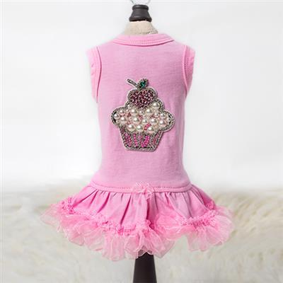 Lil Miss Cupcake Dress: Pink - Posh Pet Glamour Boutique