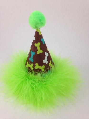 Lime Green Bones Pawty Hats - Posh Pet Glamour Boutique