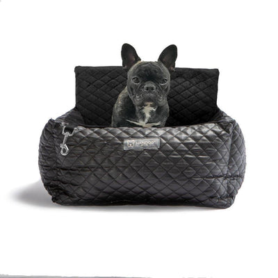 Luxury Car Seat Bed - Black - Posh Pet Glamour Boutique