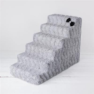 Luxury Pet Stairs-Dove Grey - Posh Pet Glamour Boutique