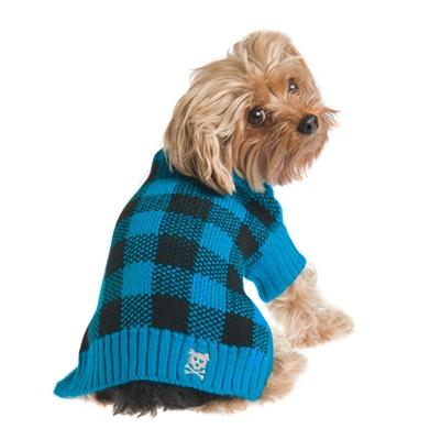 Mad for Plaid Sweater - Turquoise - Posh Pet Glamour Boutique