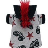 Monster Truck Mohawk Hoodie - Posh Pet Glamour Boutique