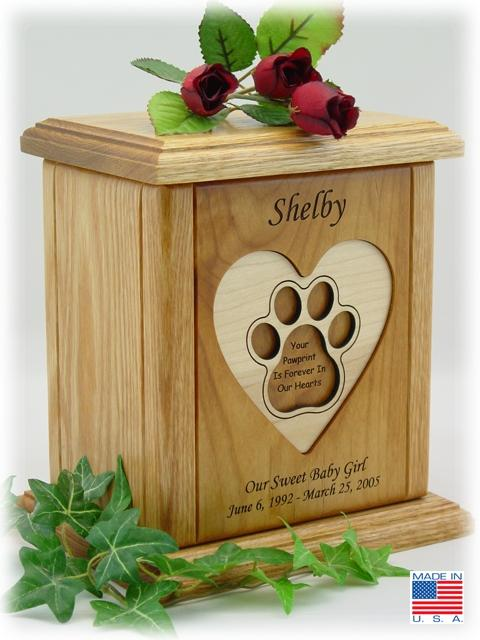 Pawprint Urn Recessed Heart - Posh Pet Glamour Boutique