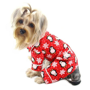 Penguins Snowflake Flannel PJ Red - Posh Pet Glamour Boutique
