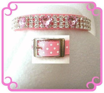 Pink Dots and Hearts Collar - Posh Pet Glamour Boutique