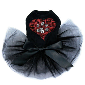 Red Heart with Paw Tutu - Posh Pet Glamour Boutique