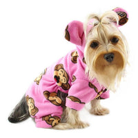 Silly Monkey Fleece Hooded Pajamas Pink - Posh Pet Glamour Boutique
