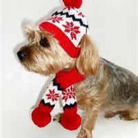 Snowflake Hat and Scarf Set - Posh Pet Glamour Boutique