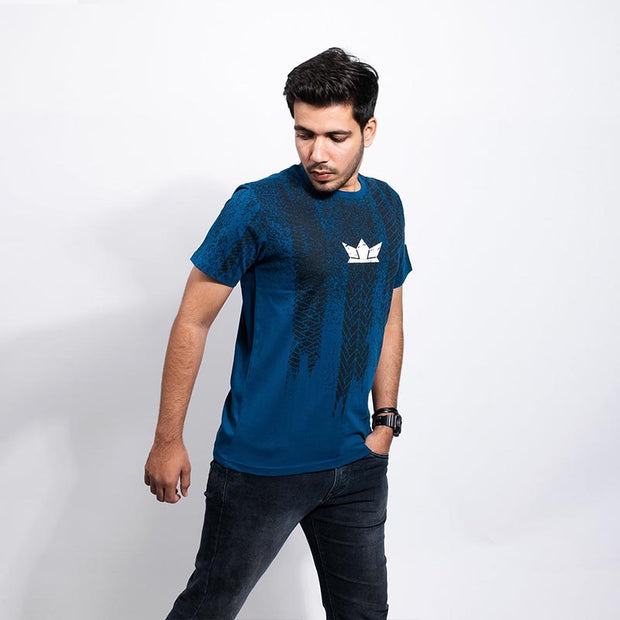 Tyre tread Men's Blue T-shirt - Gods Exclusive Collection - RoadGods