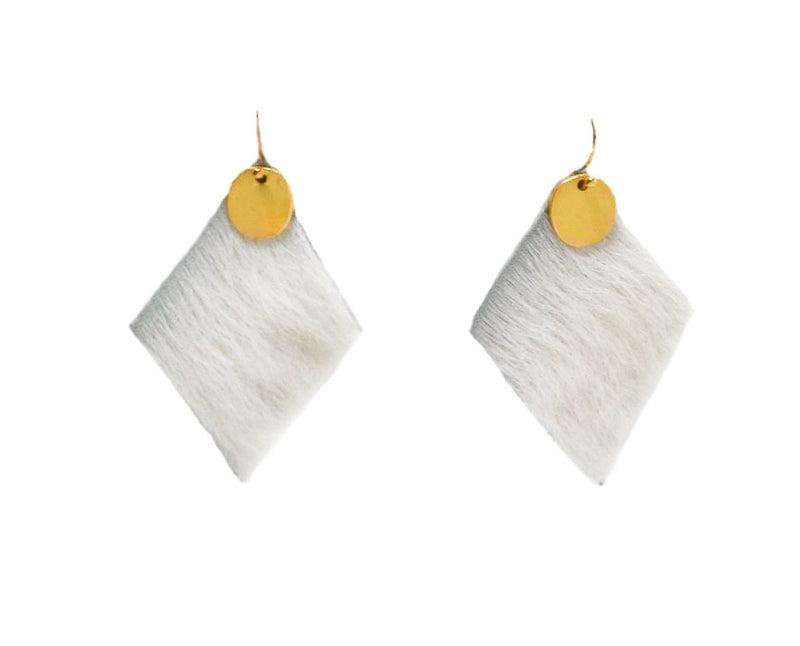REESE Cowhide Earrings, Gold - Shop Allie Marie