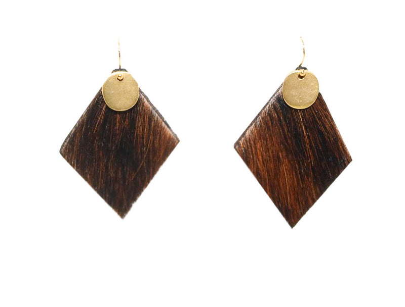 Reese Cowhide Earrings, Espresso - Shop Allie Marie