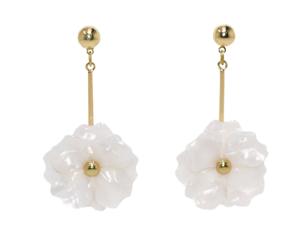 ELSIE Flower Earrings, White - Shop Allie Marie