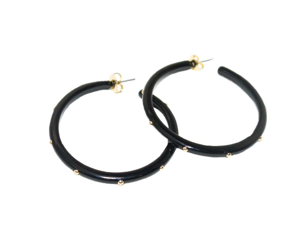 UPTOWN Studded Hoop Earrings, Black - Shop Allie Marie
