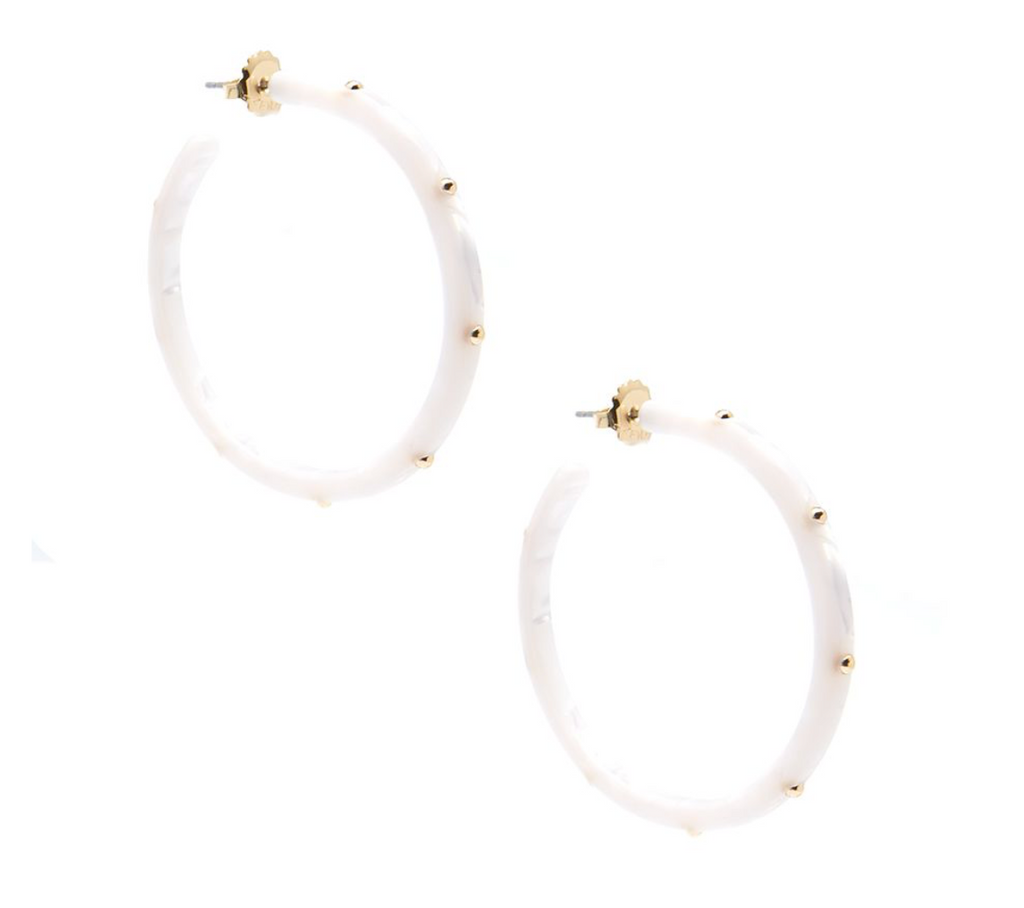 UPTOWN Studded Hoop Earring, White - Shop Allie Marie