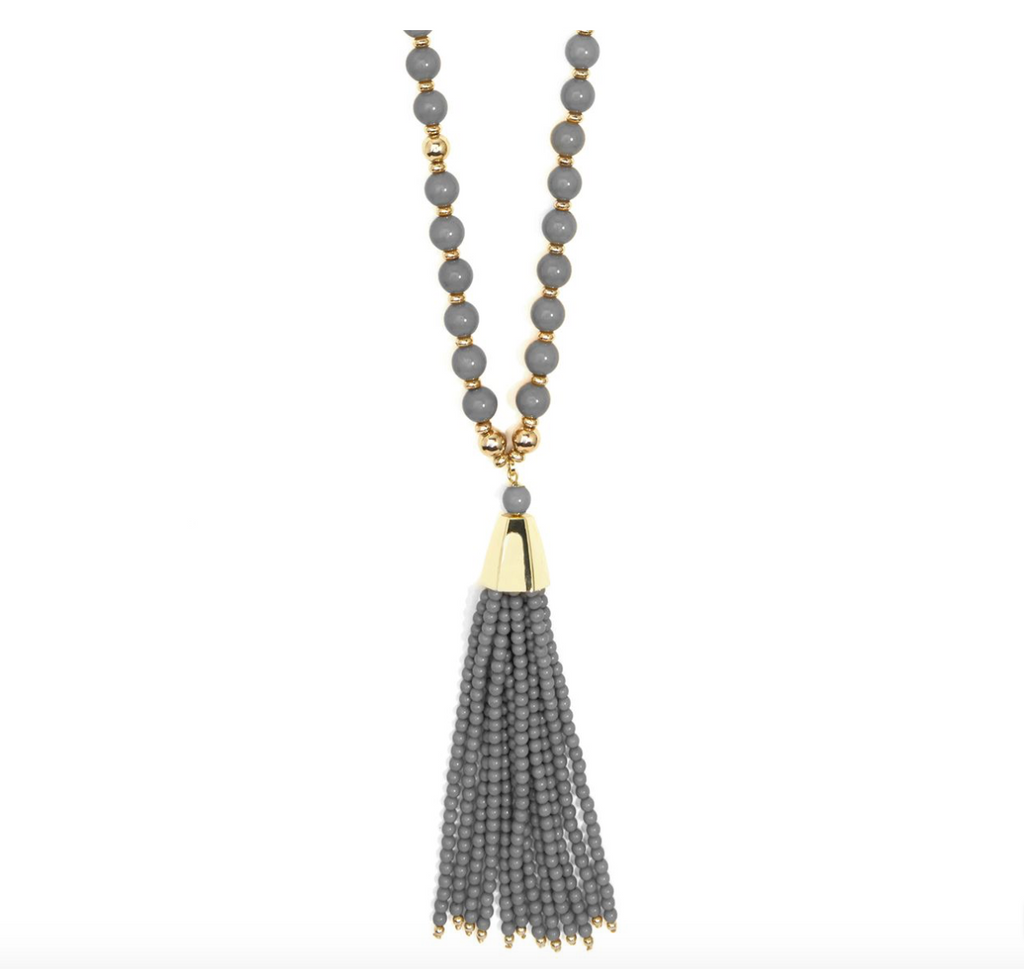 BROOKLYN Tassel Necklace, Gray - Shop Allie Marie