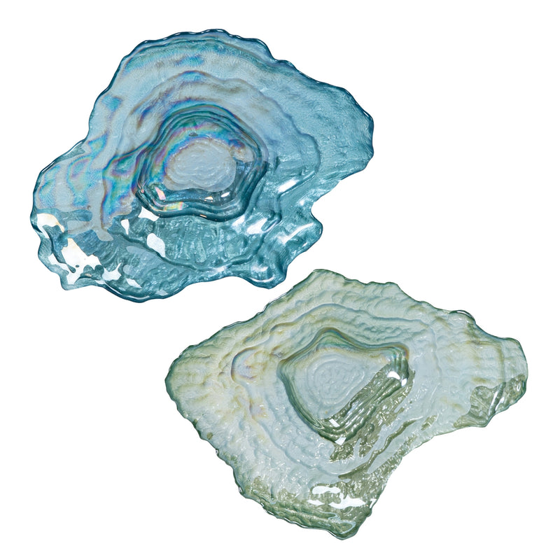 Blue and Green Oyster Dishes