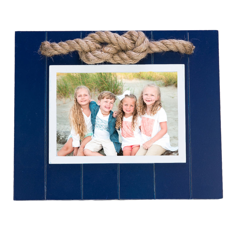 Frame with Rope Accent - White & Navy