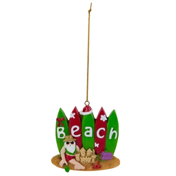 Santa Claus with Surfboards Christmas Tree Ornament