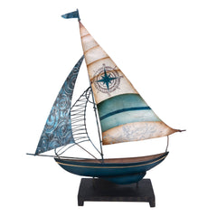 Small Metal Capiz Boat with Blue