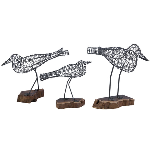 Wire Bird Sculptures on Rustic Natural Wood Block Stand Nautical Coastal Home Decor