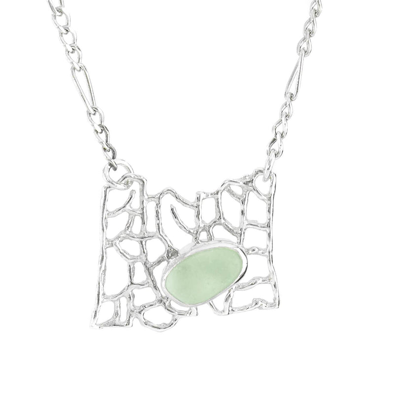 Sea Glass Fan Coral Pendant Necklace
