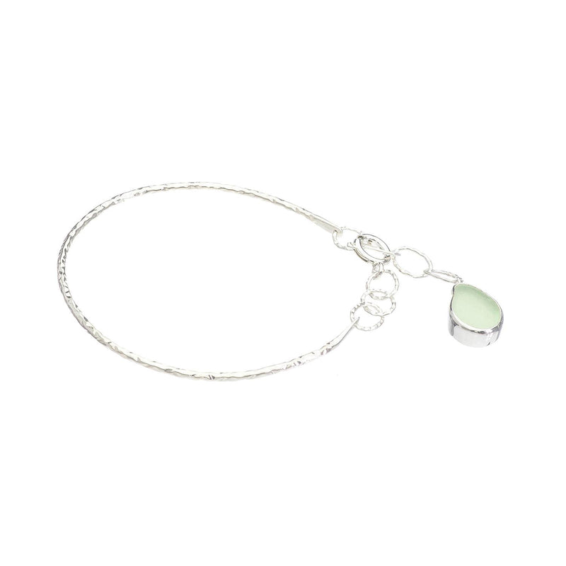 Sea Glass Charm Bracelet, Soft Green-Blue