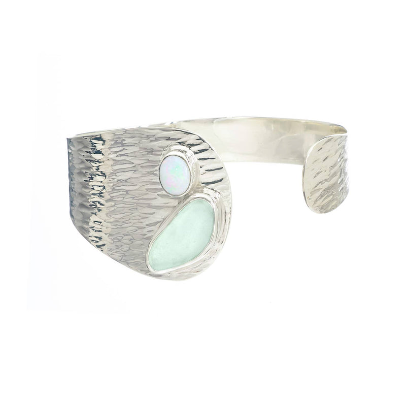 Sea Glass Cuff Bracelet Waterfall, Soft Green-Blue