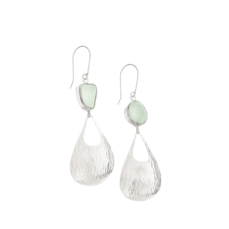 Sea Glass Earrings Waterfall, Soft Green-Blue