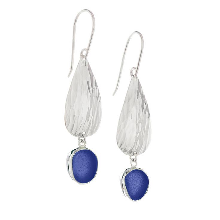 Sea Glass Waterfall Petite Earrings, Blue
