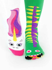 Dragon & Unicorn | Kids & Adult Socks | Mismatched Fun Socks
