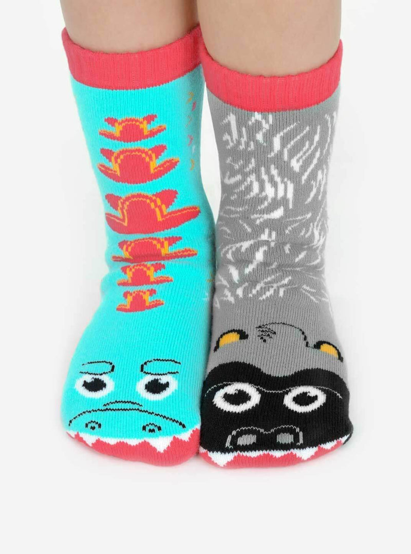 Giant Gorilla & Mutant Lizard | Kids & Adults Socks |Mismatched Socks
