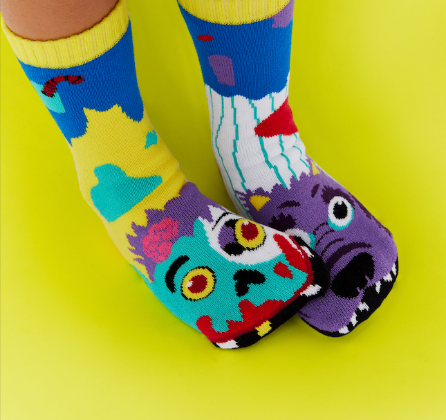 Zombie & Werewolf | Kids & Adult Socks | Mismatched Fun Socks