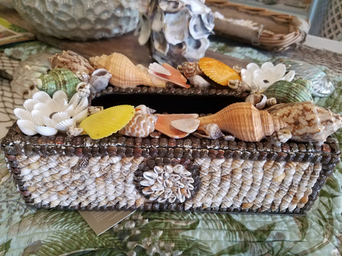 Seashell Embellished Tissue Box